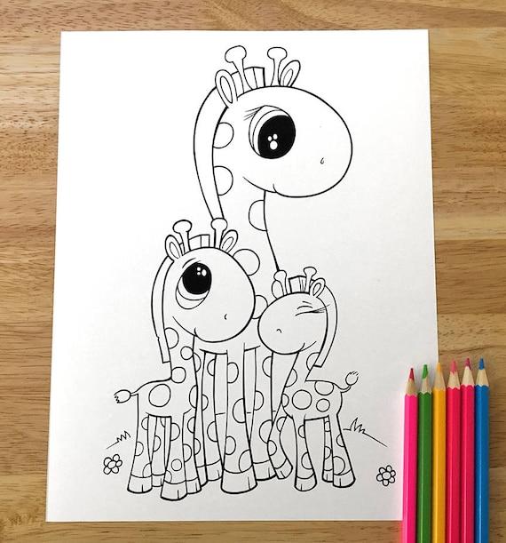Cute Giraffe Coloring Page Downloadable Pdf File Etsy