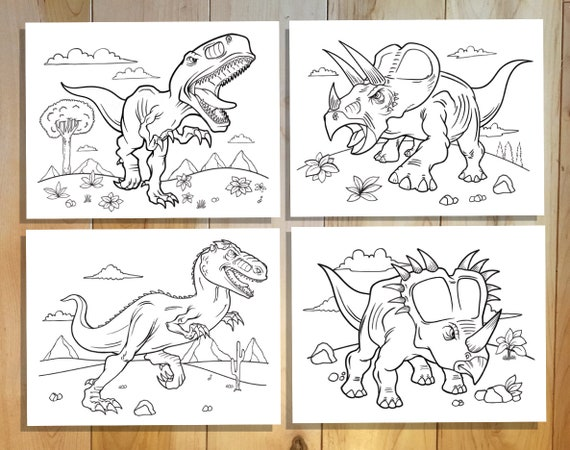 Tough Dinosaurs Coloring Page Set Downloadable Pdf File Etsy