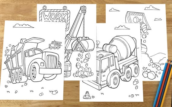 Cute Construction Vehicles Coloring Page Set Downloadable Pdf Etsy