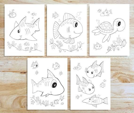 Cute Ocean Friends Coloring Page Set Downloadable Pdf Files