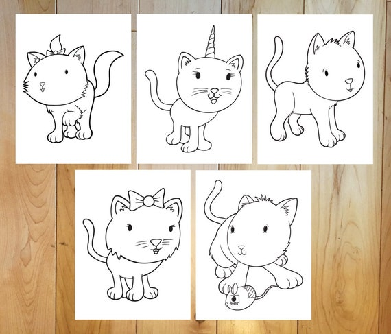 Cute Cats Coloring Page Set Downloadable Pdf Files Etsy