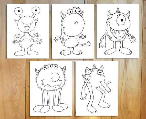 Cute Monsters Coloring Page Set Downloadable Pdf Files Etsy
