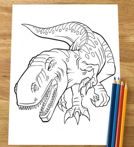 Dinosaur Tyrannosaurus T Rex Coloring Page Downloadable Pdf Etsy