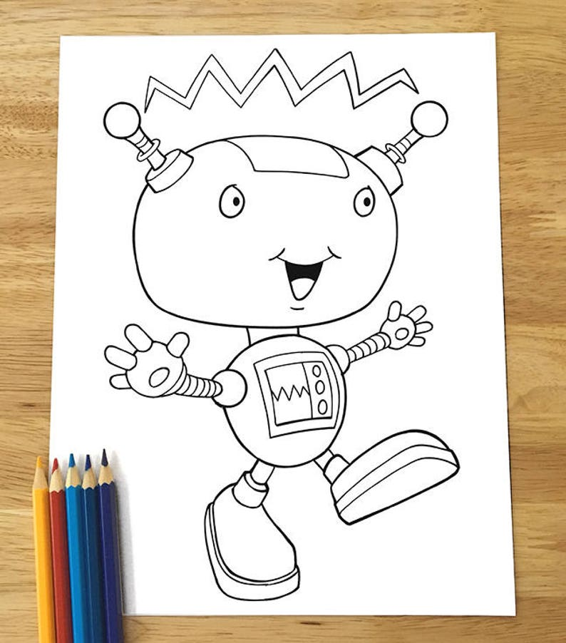 Cute Happy Robot Coloring Page Downloadable PDF file | Etsy