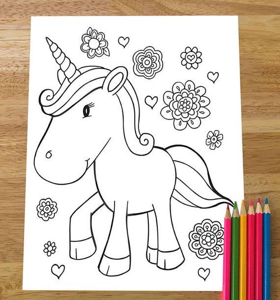 Super Cute Unicorn Coloring Page Downloadable PDF file!