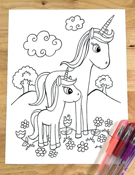 - Super Cute Unicorn Coloring Page Downloadable PDF File Etsy