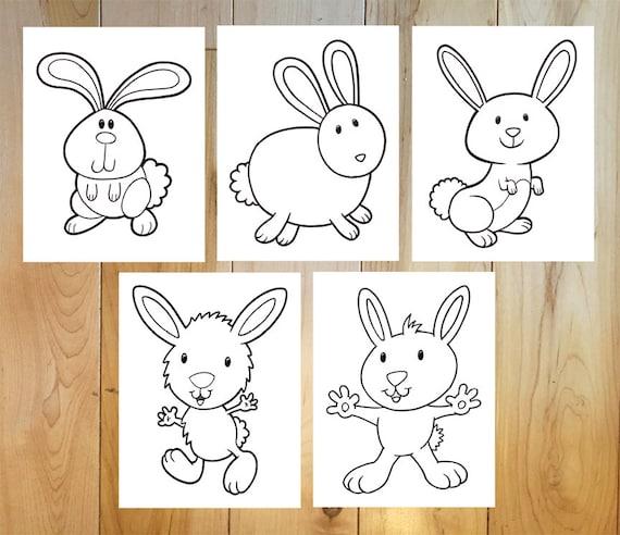 Cute Bunny Rabbits Coloring Page Set! Downloadable PDF files!