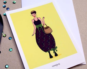 Postcard - Nanouq - Fruits and vegetables in the closet - the dress Eggplant
