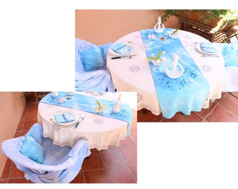 Wall hanging, sarong, tablecloth, bedspread, fabric, pigments, textile art, blue dye