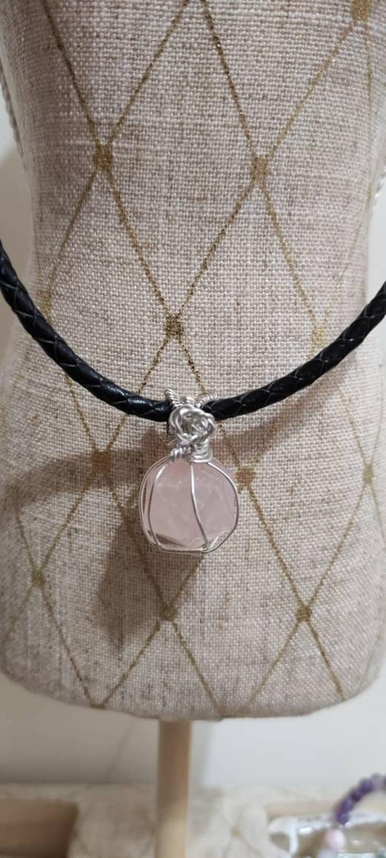 Natural Small Pink Quartz Pendant Set in Nickel and Lead Free Silver Thread 925