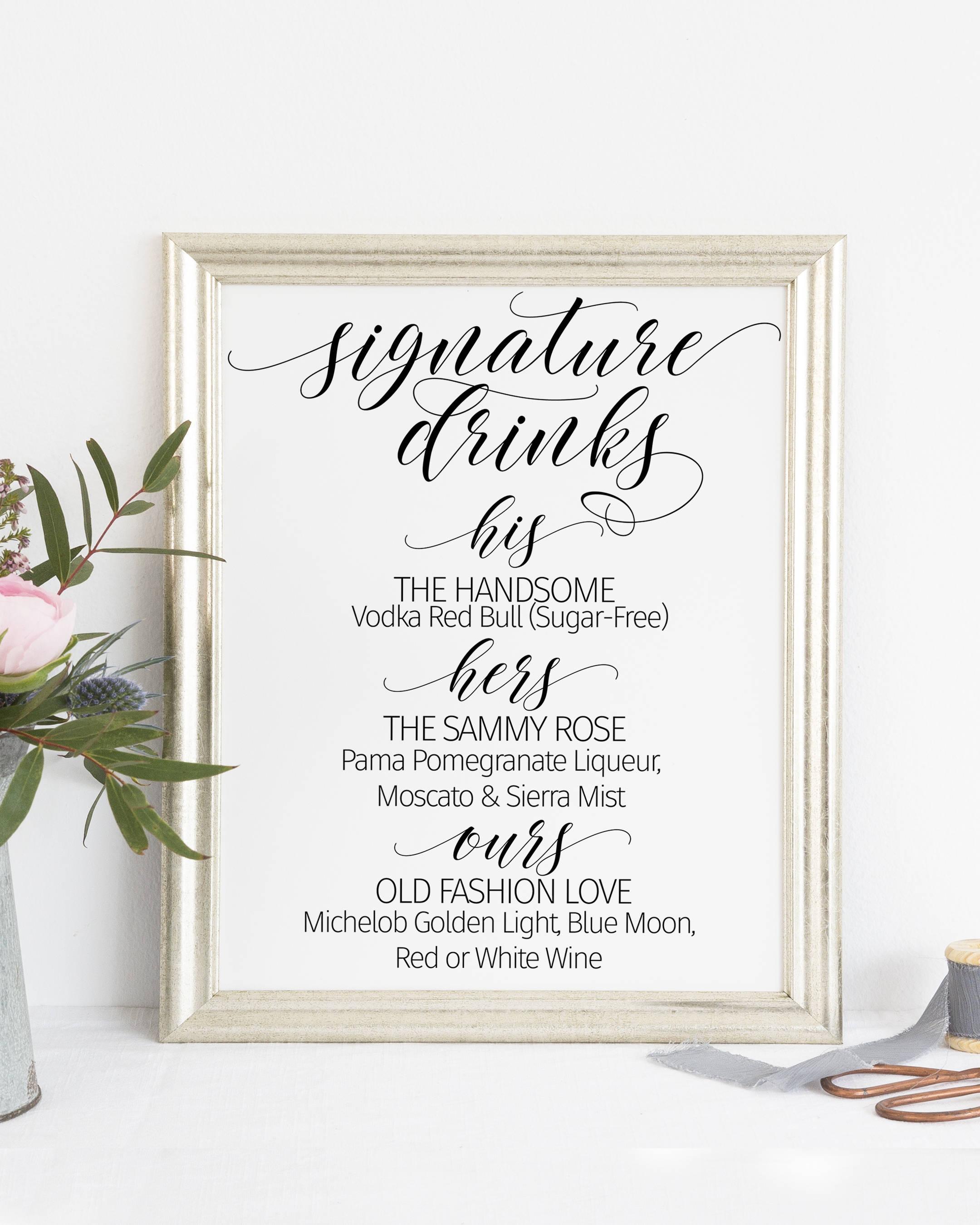 Printable. Signature drinks sign bar sign wedding bar sign | Etsy