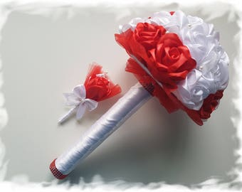 Handmade Wedding Roses Bouquet & Feather Set