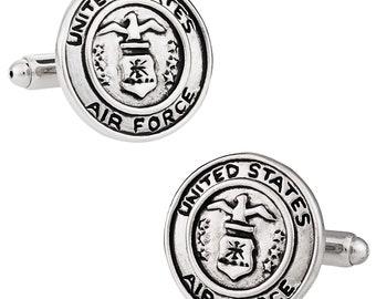 Cuff-Daddy Silvertone USAF Air Force Eagle Device Cufflinks and Studs Formal Set with Presentation Box