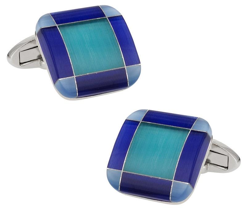 Blue Tone Glass Cufflinks with Presentation Box