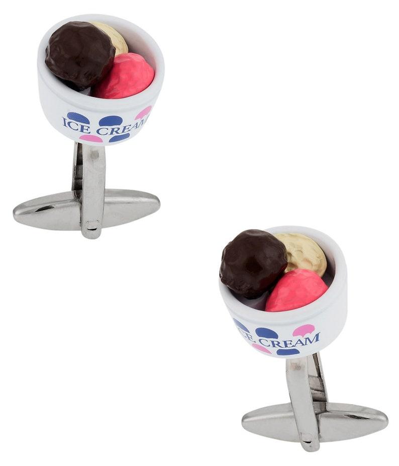 Ice Cream Cufflinks in a Bowl with Presentation Box