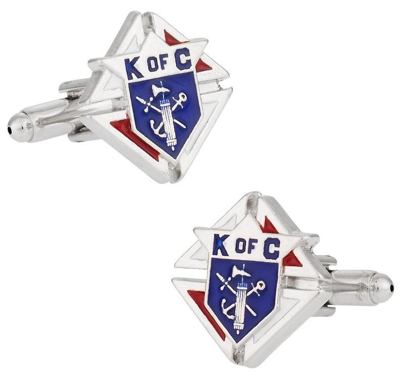 Knights of Columbus Silvertone Cufflinks Cuff Links with Presentation Box