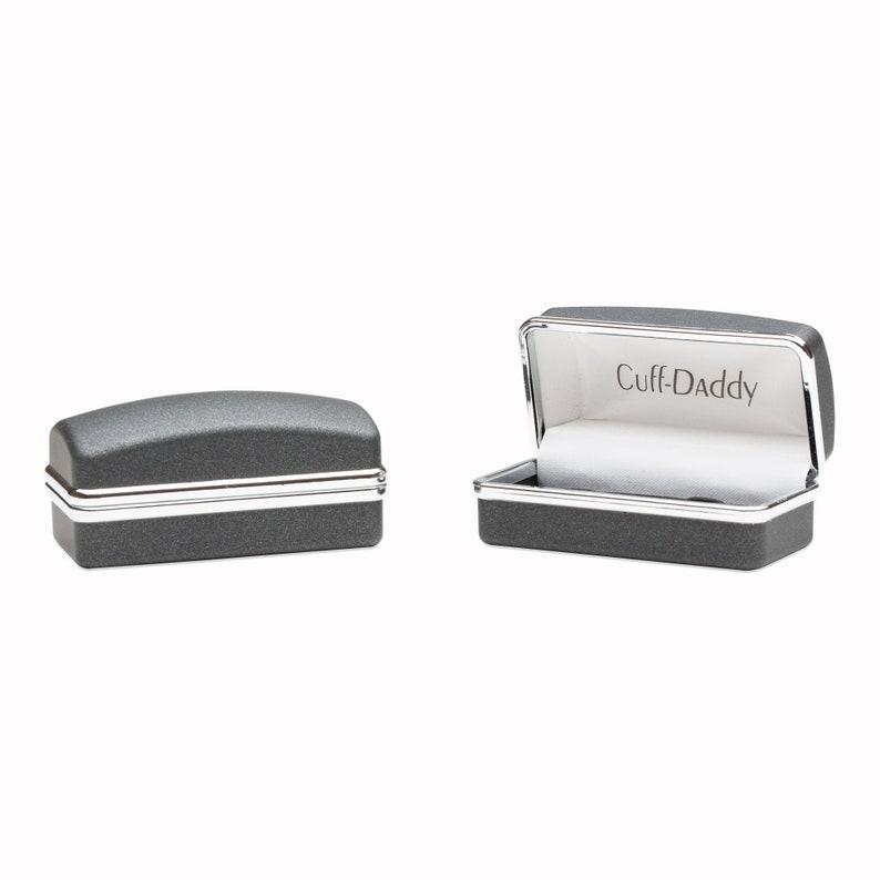 Cool Round Dark Carbon Fiber Stainless Steel Cufflinks with Presentation Box