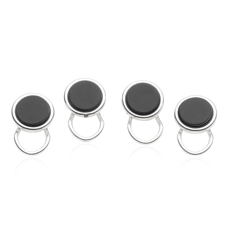 Cuff-Daddy Sterling Silver Plated Clip-on Studs in Onyx