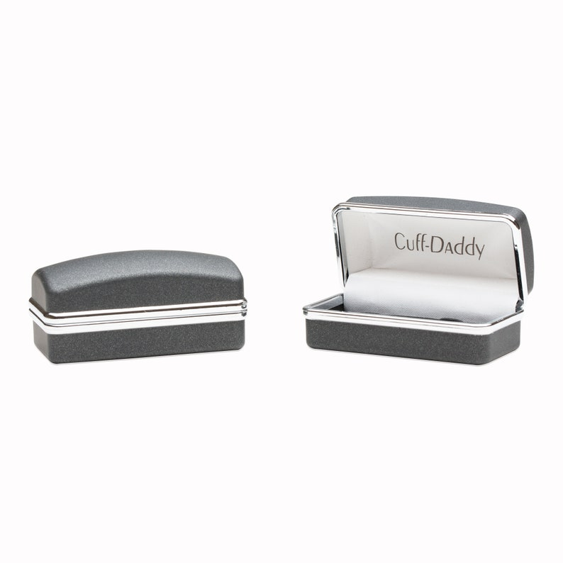 Hand Brushed Silver Cufflinks with Presentation Box