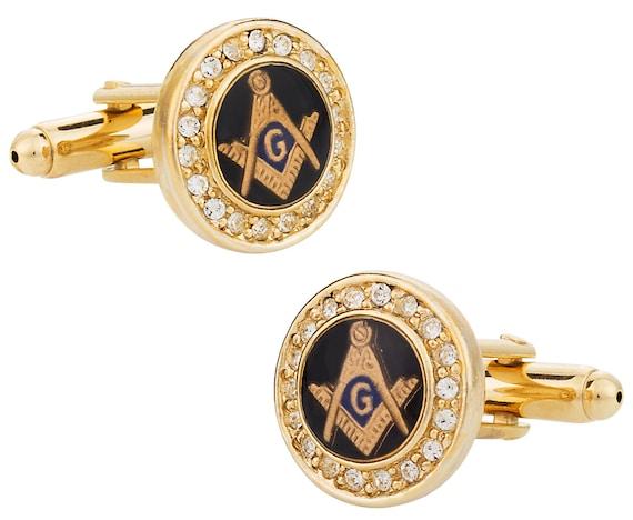 Black /& Silver Masonic CUFFLINKS Mason Lodge Freemason Formal CHRISTMAS PRESENT