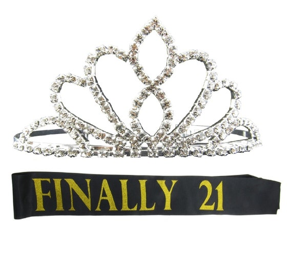 Finally 21 Birthday Sash And Tiara Gold Glitter Stamped Sash Rhinestone Tiara Crown Headband 21st Birthday Party Legally Twenty One Girl