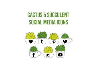 Cactus & Succulent Social Media Icons