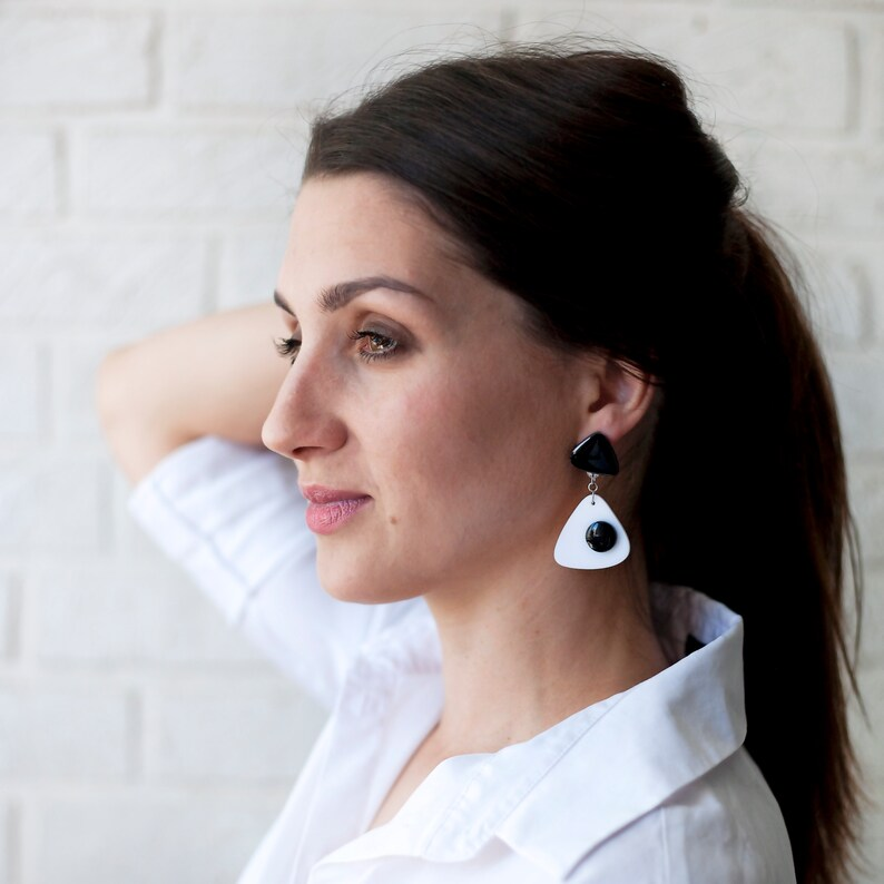 Geometric Drop Eye Big Acrylic Earrings Black and White Statement Earrings Cool Gift Laser Cut Black Dress Abstract Flower Decoration