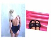 Velvet Swimsuit Dark Blue in one stretchable 36 38 (EU Women 39 s) size