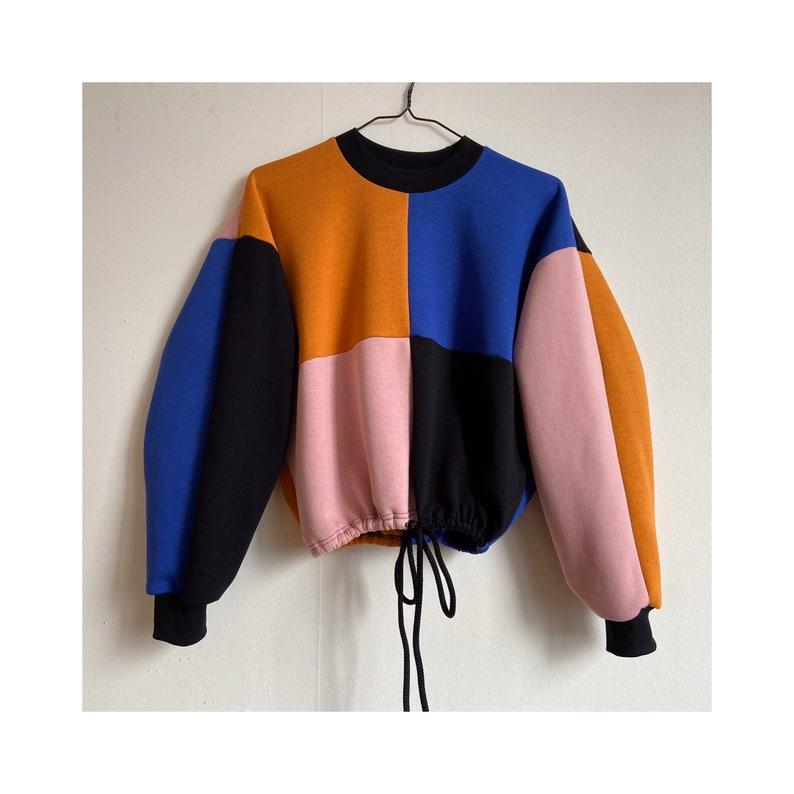 Crop sweatshirt cotton colorblock mustard rose blue black with rope