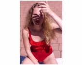 Velvet Swimsuit Red in one stretchable size 36 38 (EU Women 39 s)