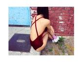 X-strapped velvet swimsuit burgundy in size 36 long