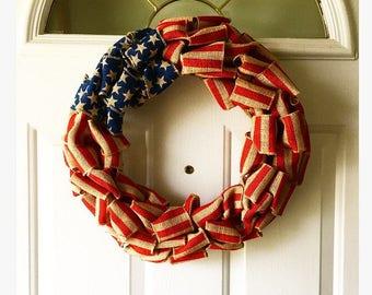 American Flag wreath, Fourth of July decor, front door wreath, burlap wreath, flag wreath,patriotic wreath, 4th of july wreath