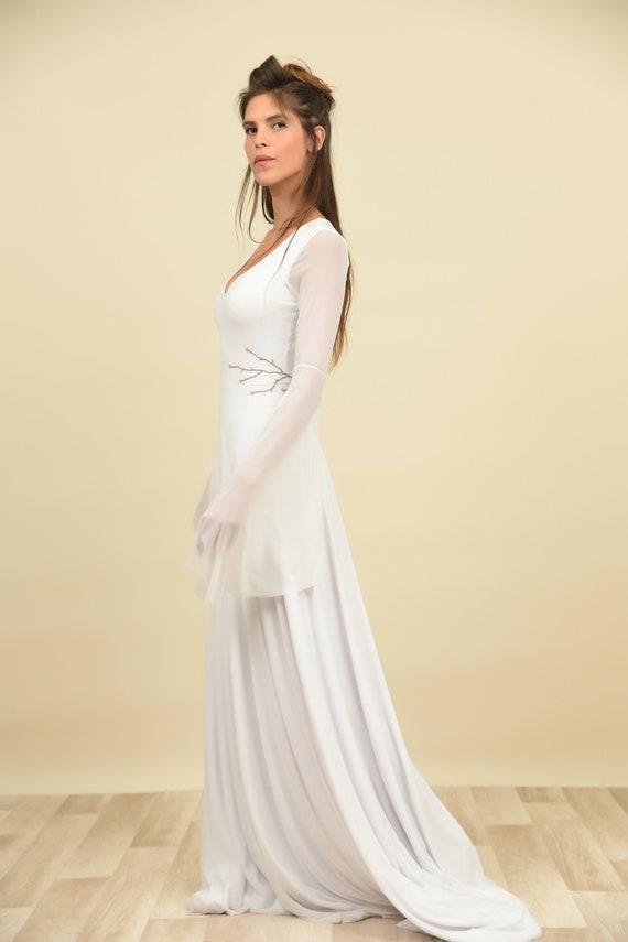 Hippie Wedding Dress Bohemian Bride Long Sleeve Sheath Etsy