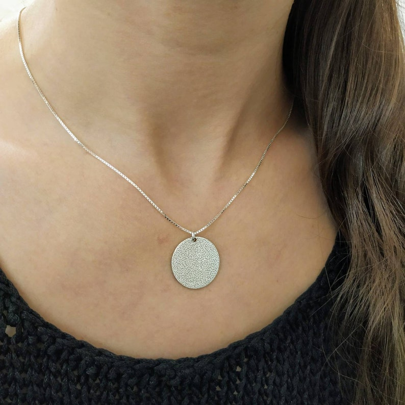 925 Silver Engraved Maze Charm Necklace