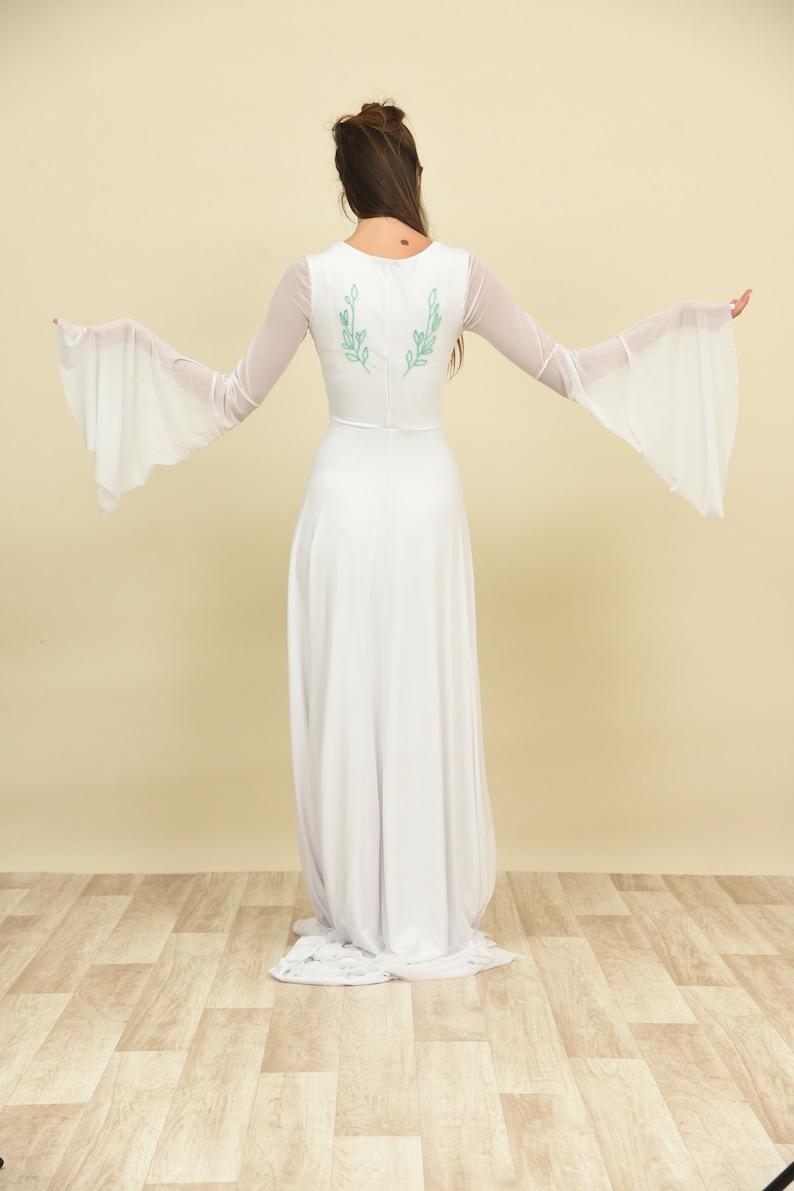 Mint green wedding dress embroidered long sleeve vintage wedding dress elopement wedding dress