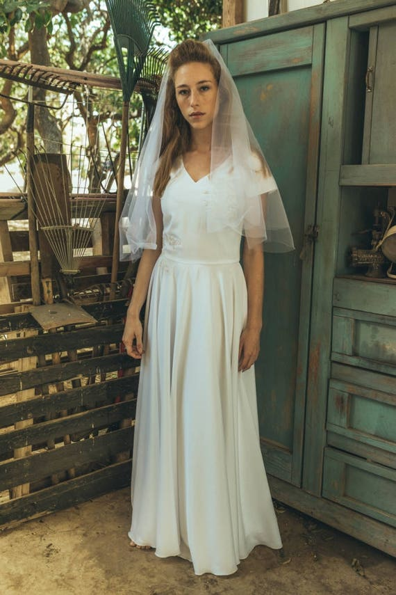 1920s wedding dress / Simple boho wedding dress / Simple | Etsy