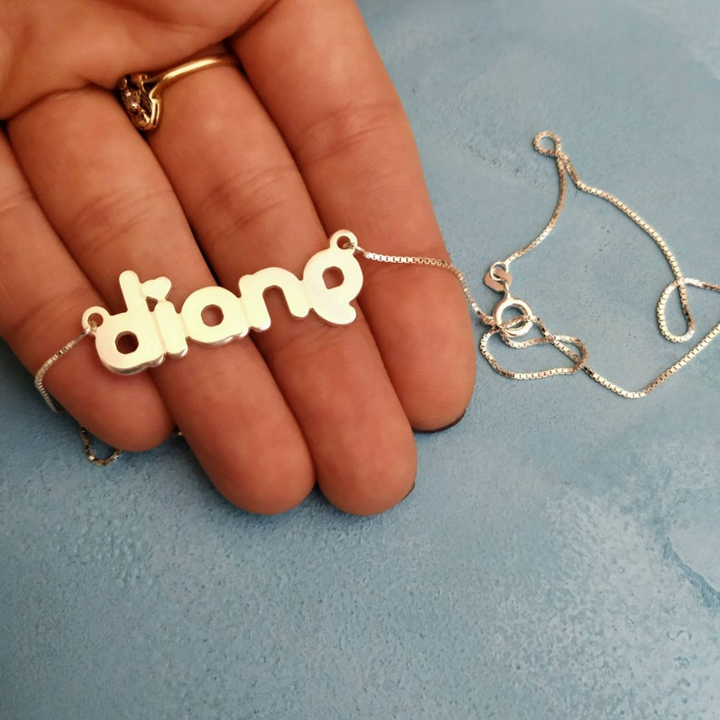 Heart Name Necklace 925 Silver Customized Nameplate Silver Name Jewelry Diane