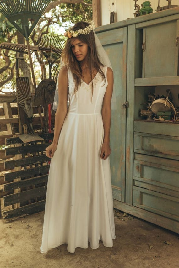 Simple wedding dress Hippie wedding dress Romantic wedding | Etsy