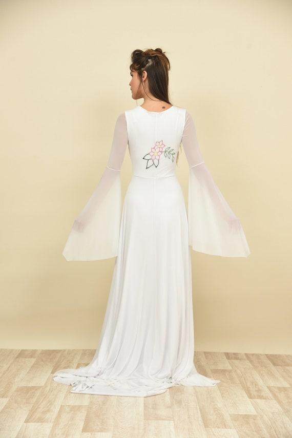 dress bride Magnolia wedding Comfortable wedding Flower sleeve dress dress wedding Chiffon wedding dressHippie Bohemian sheath Long Oxw88