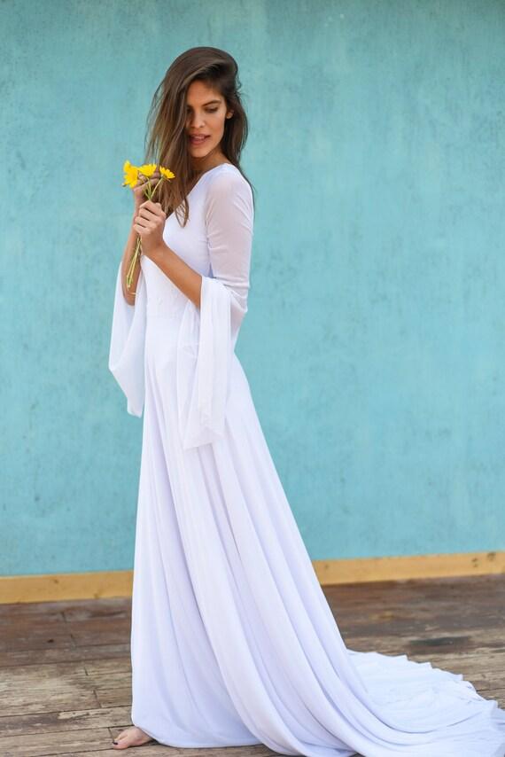 Hippie Kleid Mantel Brautkleid mit Ärmel Magnolie Blätter