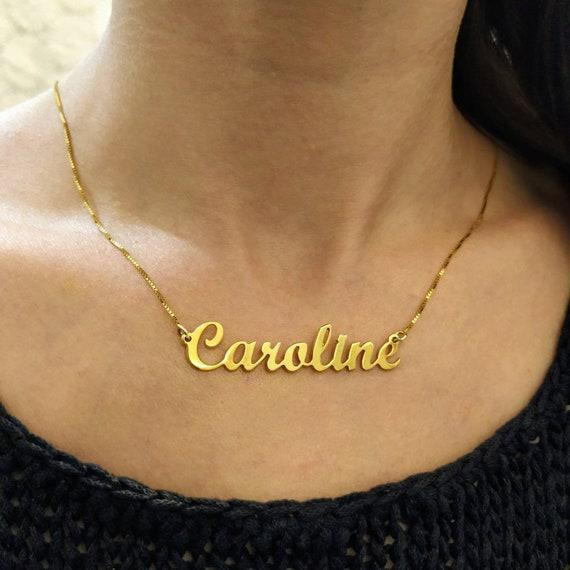 18k Gold Plated Gold Name Chain Customized Pendant Big Name Necklace Cursive Nameplate Caroline