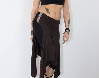 Skirt - Leather insert skirt, tribal fusion, bellydance for training and lifestyle, one size (comfortable fabric from XS-L)