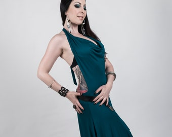 Dress - Dress with hood neckline, bare back tribal fusion dance, bellydance for training and lifestyle.
