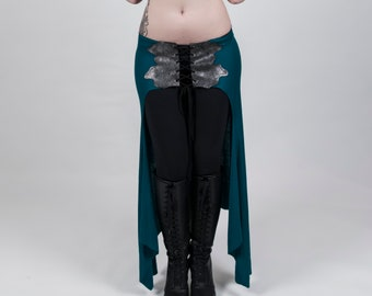 Skirt - Leather insert skirt, tribal fusion, bellydance for training and lifestyle, (comfortable fabric from XS-L)