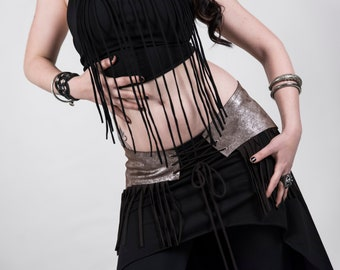 Belt-Tribal Fusion belt in genuine leather, bellydance for training and lifestyle (size from XS-M)