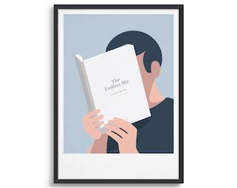 Personalised book cover poster / Minimal art print / Custom book anniversary gift
