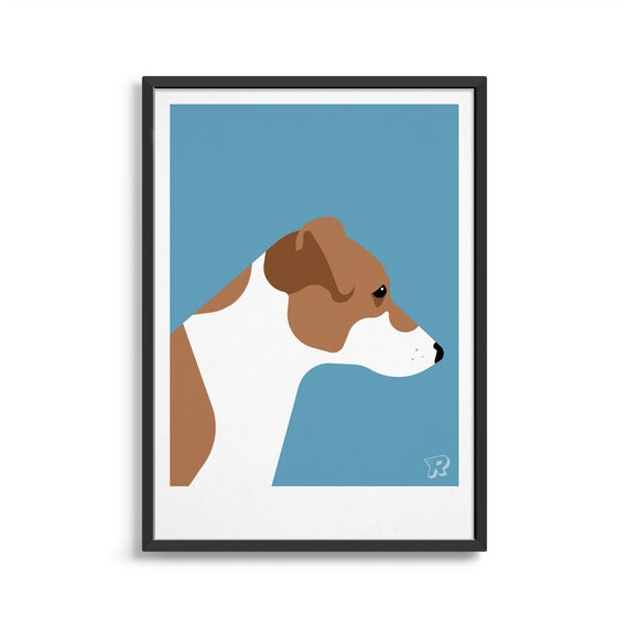 JACK RUSSELL FOX TERRIER GUARDS HAT AND COAT VINTAGE STYLE DOG ART PRINT MATTED