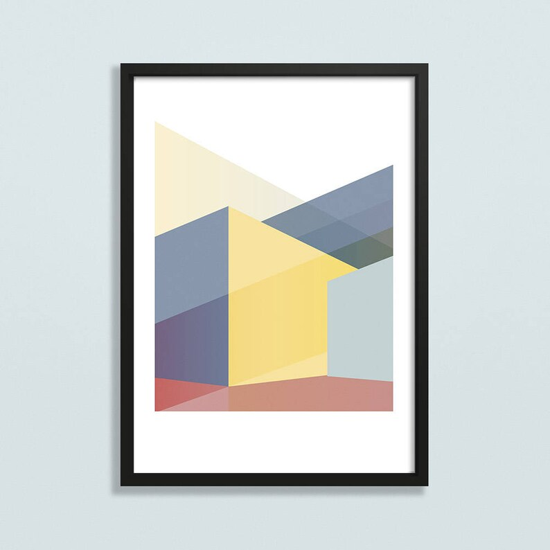 Geometric abstract art print  as featured on BBCs DIY SOS image 0