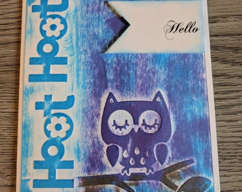 Hello - Owl - Handmade
