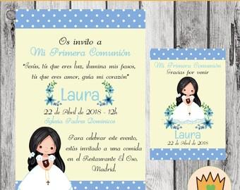invitaciones imprimibles primera comunion ninas y ninos - etiquetas para cuadernos de fortnite para imprimir